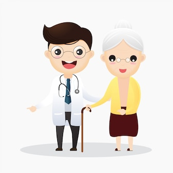 Caring for the elderly. doctor and and old woman