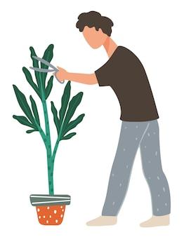 성장하는 식물을 돌보고, 가위로 잎을 자르는 고립된 남성 캐릭터. 정원 가꾸기와 꽃집 취미. 냄비에 번성 장식을 가진 남자입니다. 식물학자 또는 농부 일. 평면 스타일의 벡터