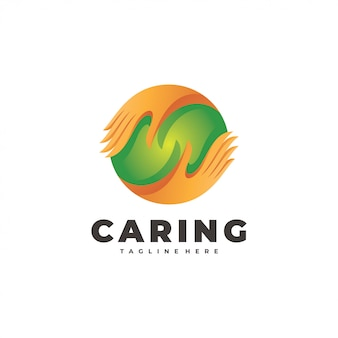 Caring hand and circle sphere social logo