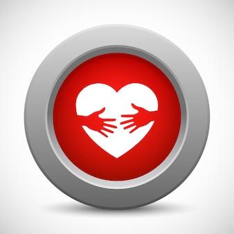 思いやりのある手赤いボタン、イラスト