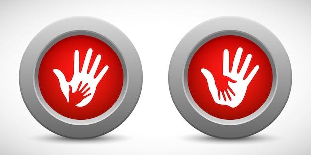 思いやりのある手赤いボタン、ベクトルイラストセット