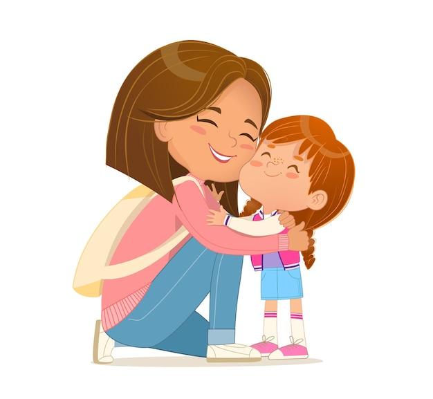 愛と優しさのベクトルフラットを感じてキスかわいい小さな娘を抱きしめる思いやりのある若い母親