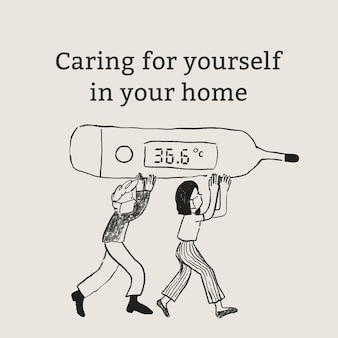 Caring for yourself template vector in your home healthcare social media advertisement