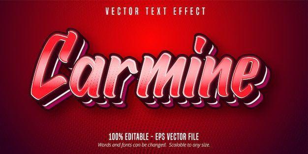 Carmine text, red color pop art style editable text effect