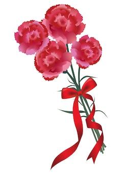 赤いリボンのカーネーション花束