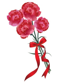 Carnation bouquet with a red ribbon