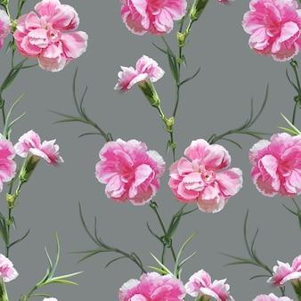 カーネーションの花のシームレスパターン
