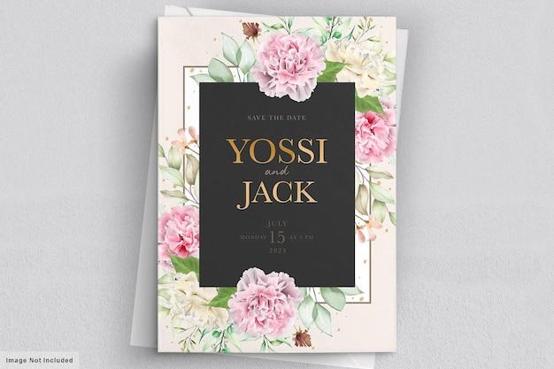 Carnation flowers invitation card