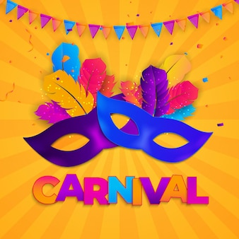 カーニバルの背景。祭りのための羽と紙吹雪の伝統的なマスク