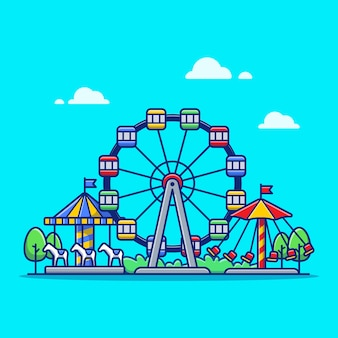 Карнавал цирк фестиваль мультфильм значок иллюстрации. парк и отдых значок концепция изолированных премиум. плоский мультяшный стиль