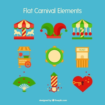 Carnival accesories in flat style