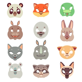 Carnival animals face masks in flat style