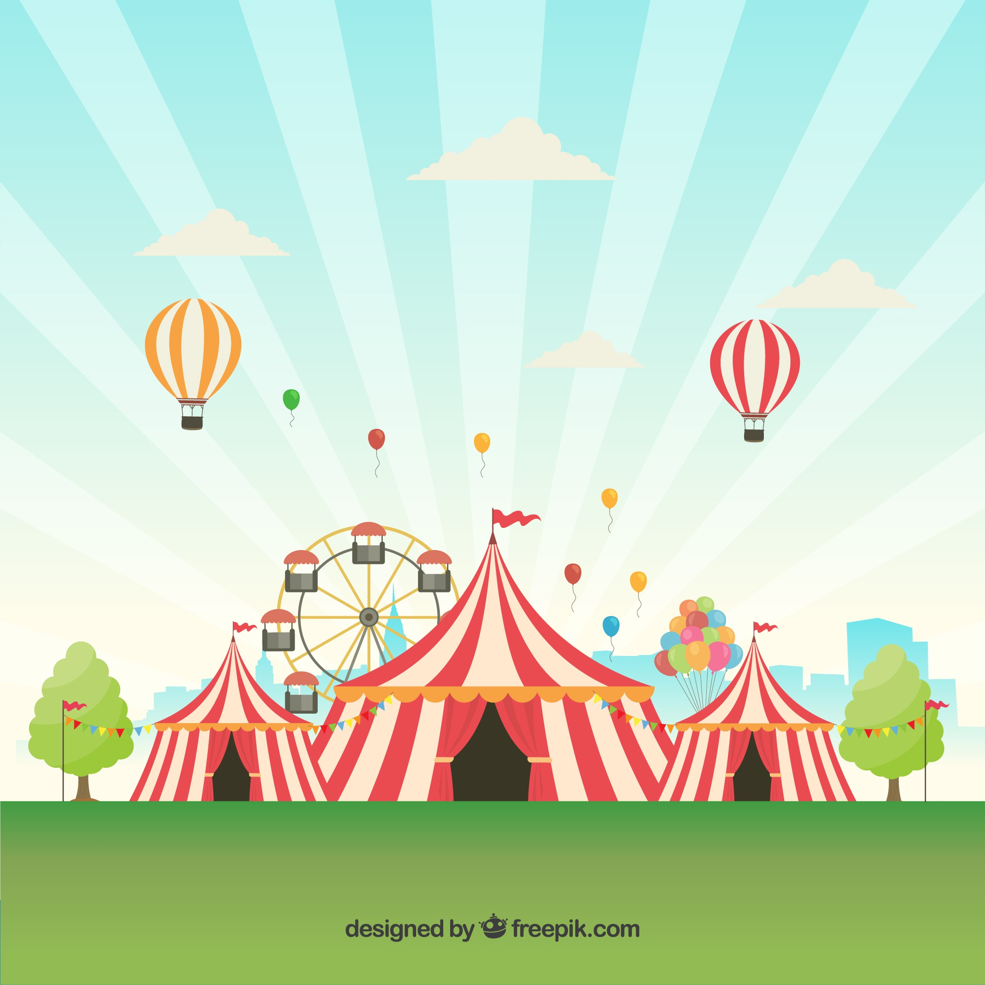 Carnival background design with tents and balloons