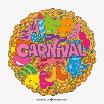 Карнавал фон с красочными каракулей