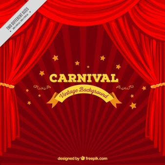 Carnival background with curtain in red tones