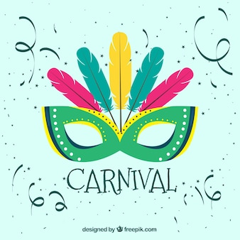 Carnival background with green mask