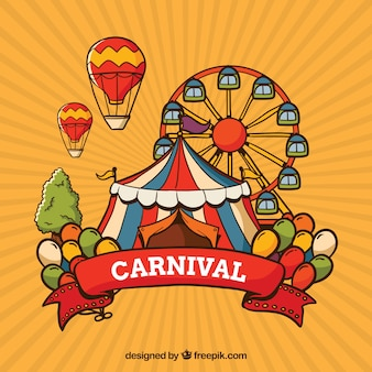 Carnival background with tent and ferris wheel