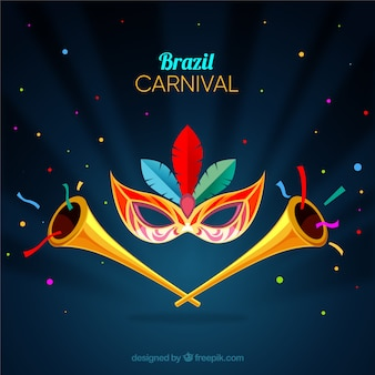 Carnival background with trumpets