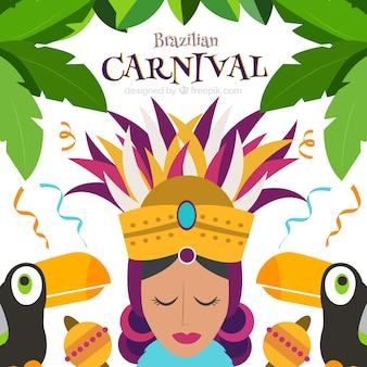 Карнавал фон с женщиной и туканы