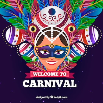 Carnival background with woman and colorful feathers