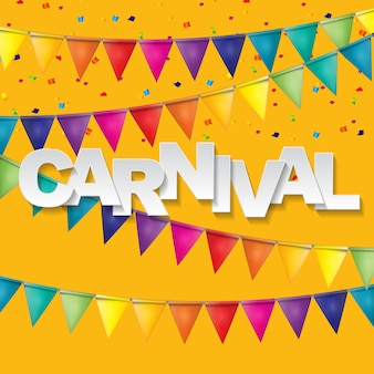 Carnival banner with bunting flags and flying balloons.  illustration