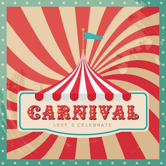 Carnival banner with circus tent over sunlights retro background