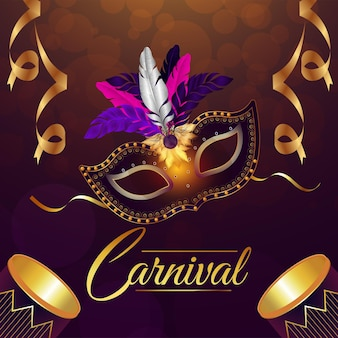 Carnival brazil party event with golden mask