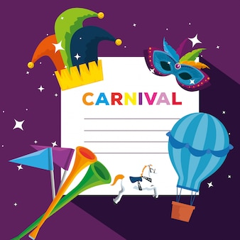 Carnival card with joker hat and air balloon to festival celebration