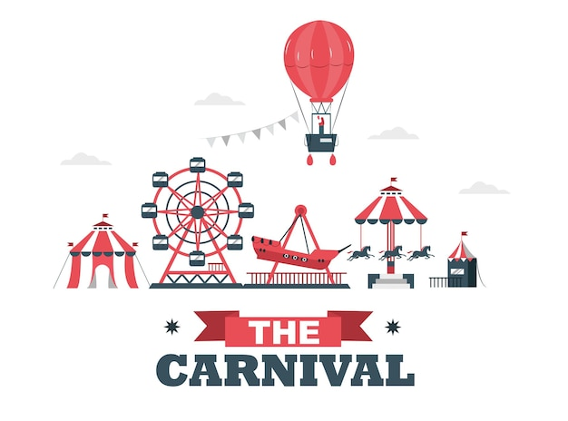 Carnival carnival circus day with various games and hot air balloons