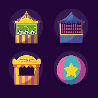 Празднование карнавала набор иконок