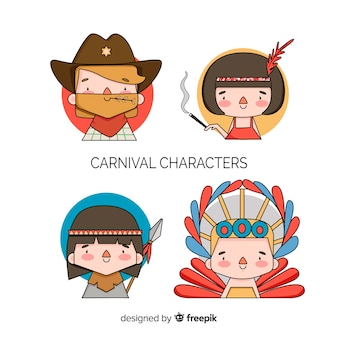 Carnival characters wearing costumes
