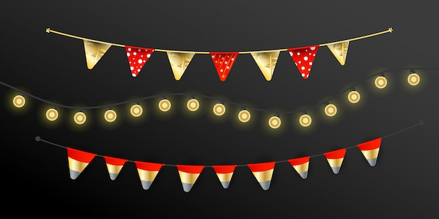Carnival christmas garland with flags garlands, lights realistic design lamps elements. holiday for birthday celebration, festival and fair decoration.
