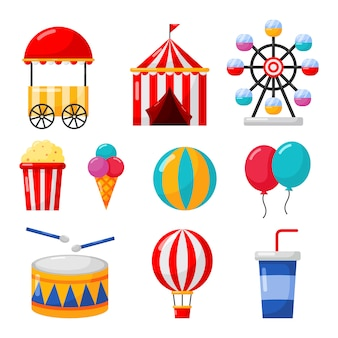Carnival and circus icons set isolate on white