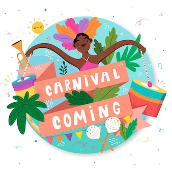Carnival coming with woman dancing hand drawn