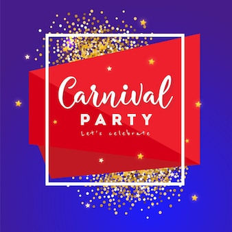 Carnival concept banner with frame and stars on a dark background.  fat tuesday