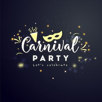 Carnival concept banner with star and  fireworks