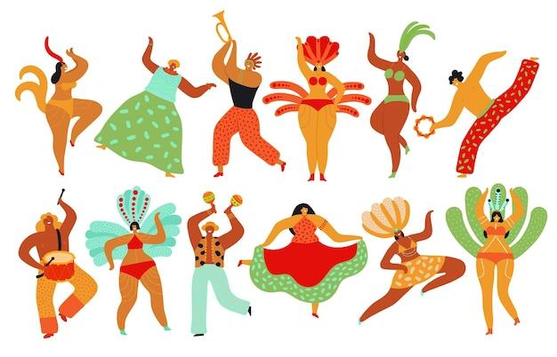 카니발 댄서. 카포에이라, 브라질 사람들이 춤을 춥니 다. 뜨거운 축제 소녀와 소년, 삼바 축제. 브라질 댄스 파티 벡터 문자 집합입니다. 카니발 사람들이 브라질 댄스, 축제 파티 그림