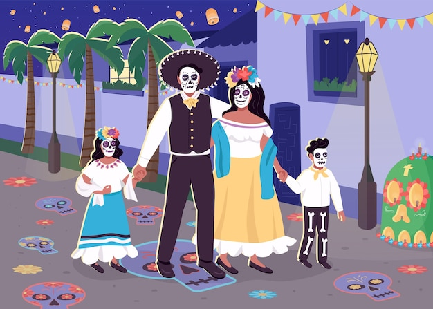 Carnival of dead flat color illustration. parents with children celebrate traditional spanish holiday. mexican family in costumes 2d cartoon characters with nighttime cityscape on background
