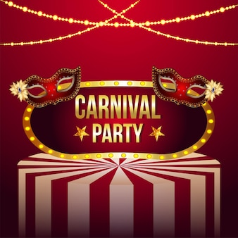 Carnival decorative invitation greeting card with vector illustration of golden mask
