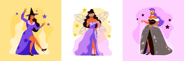 Carnival design concept with three square compositions with female characters of fairy in dress with stars