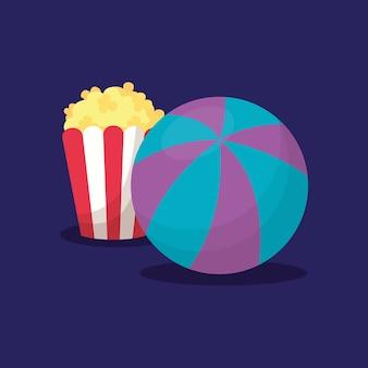 ポップコーンとプールボールによるカーニバルデザイン