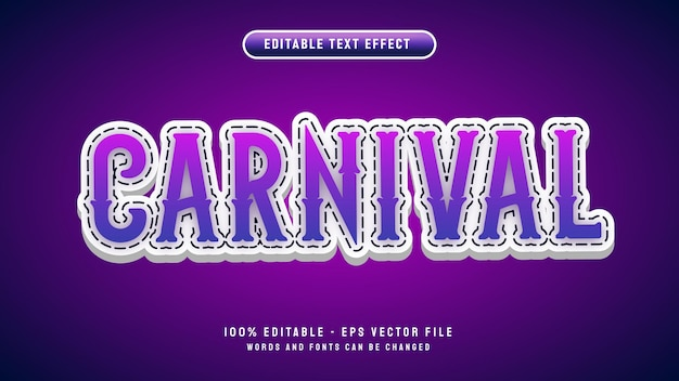 Carnival editable text effect with 3d cartoon style vector illustration template