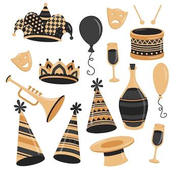 Коллекция карнавальных элементов в плоском стиле с золотым и черным цветами
