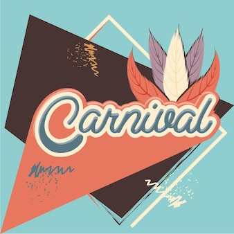 Carnival feather hat accessory vector illustration design