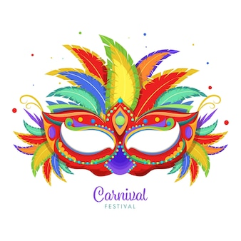 Carnival festival concept with colorful party mask and feathers on white background