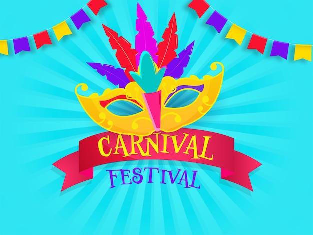 Carnival festival poster design with colorful feather party mask and bunting flags