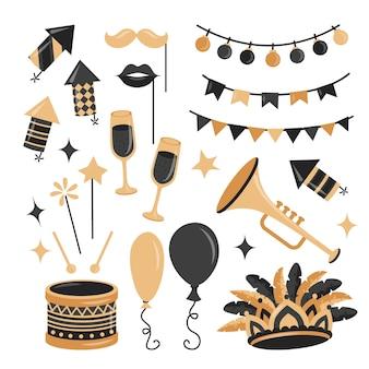 Коллекция праздничных элементов карнавала в плоском стиле с золотыми и черными цветами