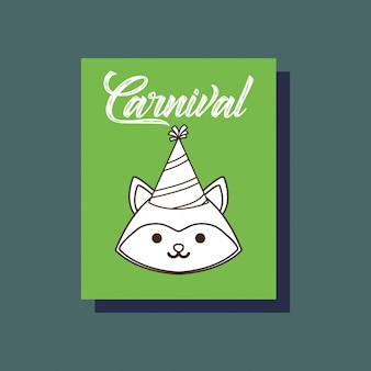Carnival fox animal card