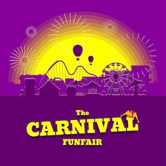 카니발 유원지 배너입니다. 서커스, 회전 목마, 롤러 코스터, 일몰 도시 배경의 명소가 있는 놀이 공원. 불꽃놀이가 있는 재미있는 공정한 풍경. 관람차와 회전목마 축제