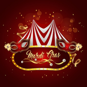 Carnival funfair and circus tent with carnival mask